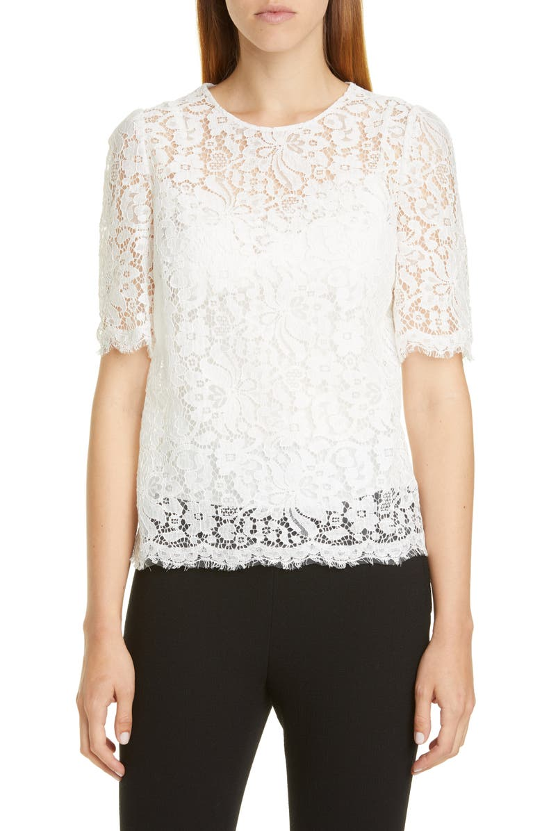 DOLCE&GABBANA Lace Top, Main, color, WHITE