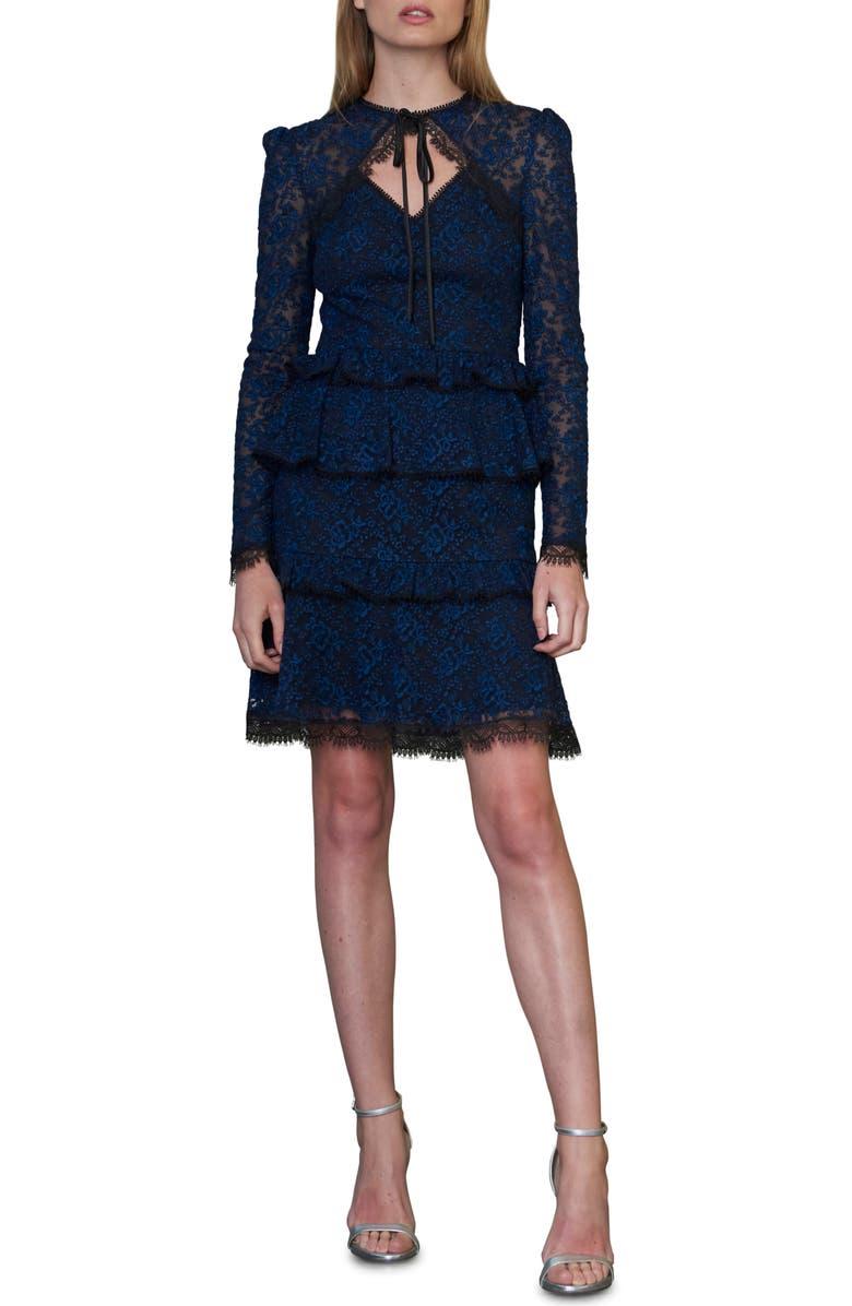 ML MONIQUE LHUILLIER Tie Neck Long Sleeve Lace Cocktail Dress, Main, color, JET NAVY COMBO