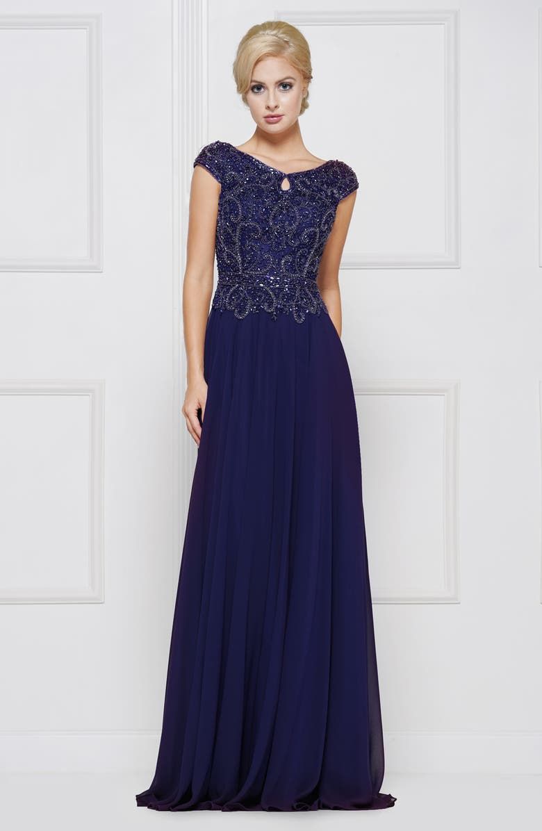 MARSONI Beaded Chiffon A-Line Gown, Main, color, NAVY