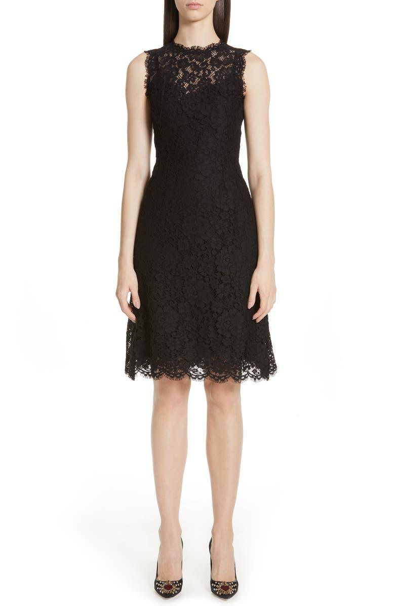 DOLCE&GABBANA Lace A-Line Dress, Main, color, BLACK