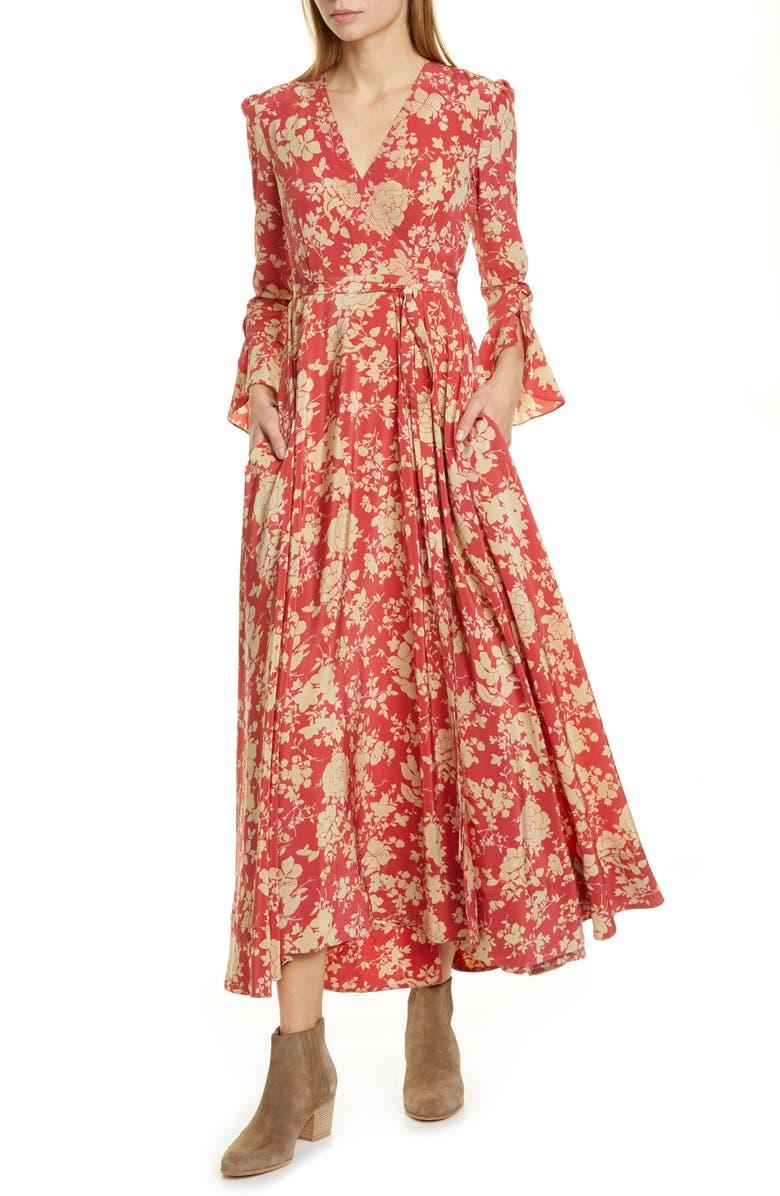 POLO RALPH LAUREN Harlow Floral Wrap Dress, Main, color, RED