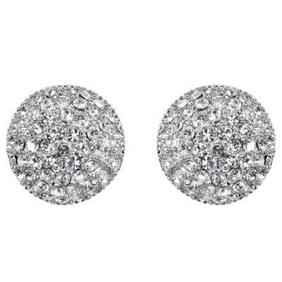 Nina Small Pave Swarovski Crystal Button Earrings