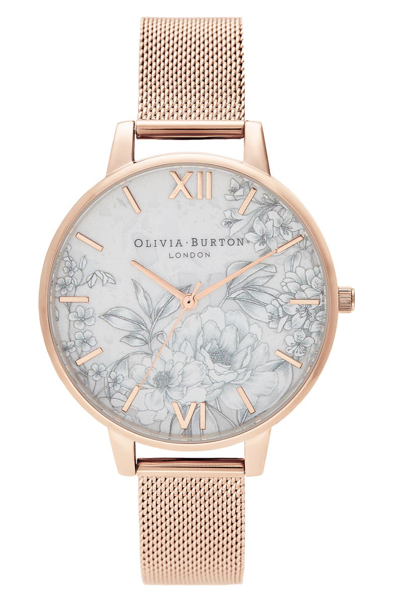 OLIVIA BURTON Terrazzo Florals Mesh Strap Watch, 38mm, Main, color, ROSE GOLD/ WHITE FLORAL