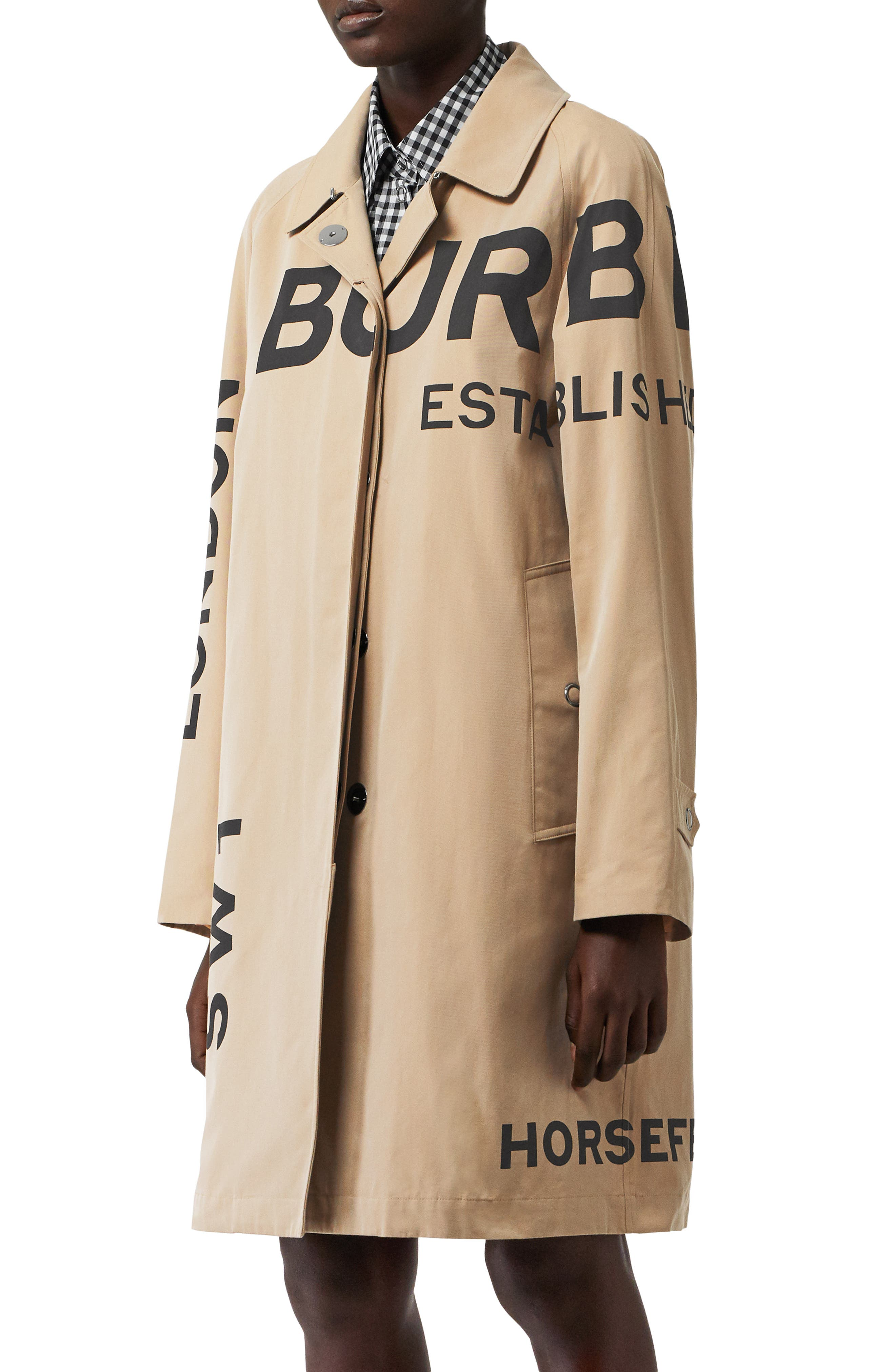 ,                             Antonia Horseferry Print Cotton Gabardine Car Coat,                             Alternate thumbnail 3, color,                             HONEY