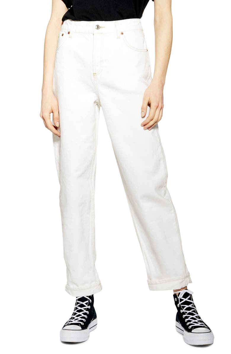 TOPSHOP Balloon High Waist Boyfriend Jeans, Main, color, WHITE