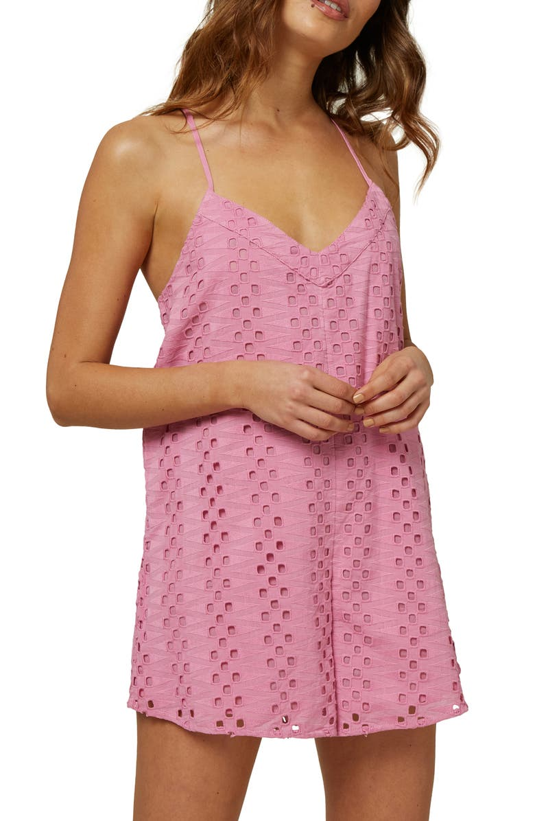 O'NEILL Brishon Strappy Eyelet Romper, Main, color, BEGONIA