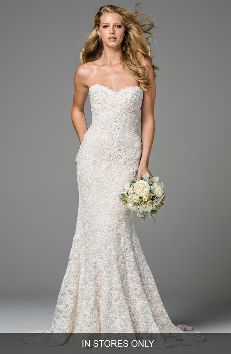 WATTERS Copeland Strapless Lace Gown, Main, color, 101