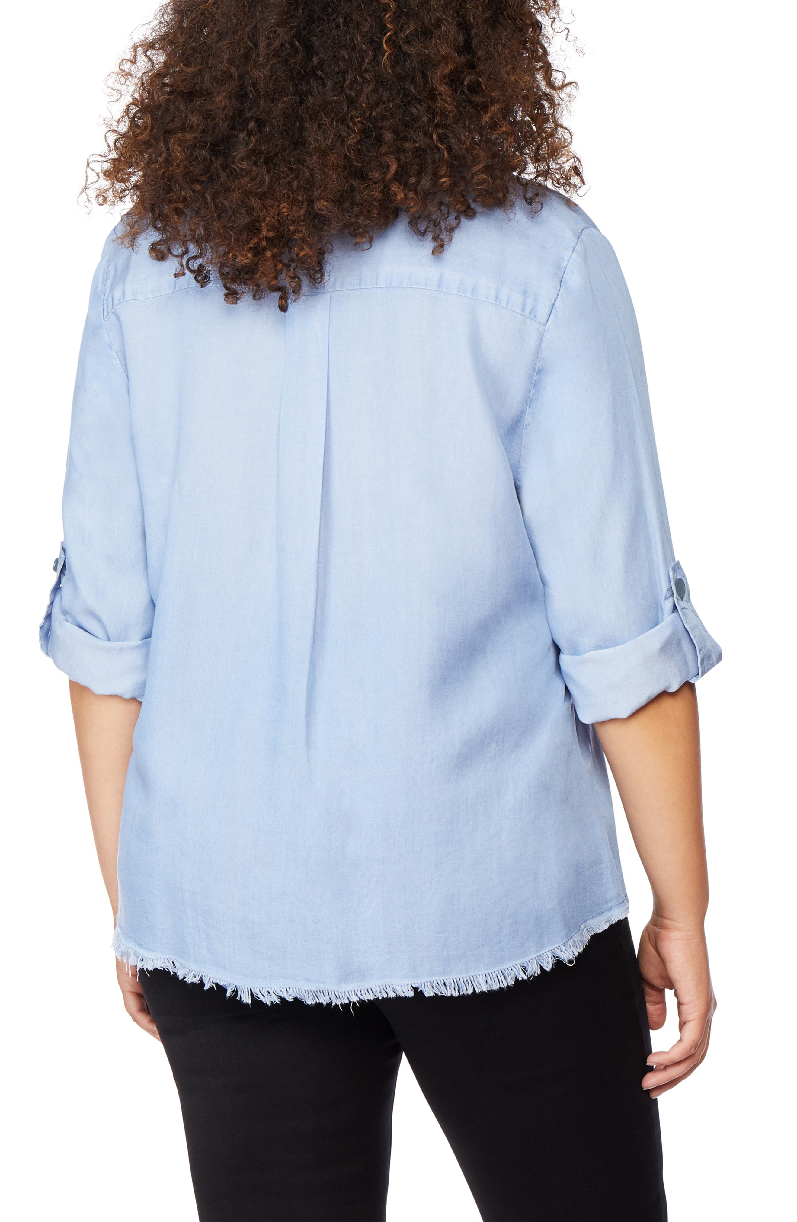 ,                             Frayed Hem Button Front Shirt,                             Alternate thumbnail 2, color,                             BAYSIDE
