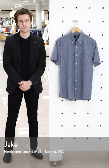 Trim Fit Short Sleeve Linen Blend Button-Down Shirt, sales video thumbnail
