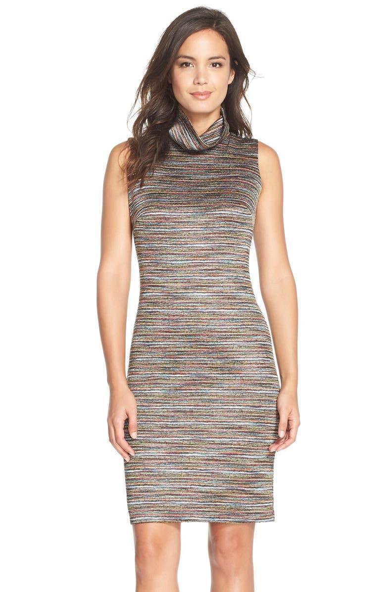 CHETTA B Turtleneck Knit Sheath Dress, Main, color, 650