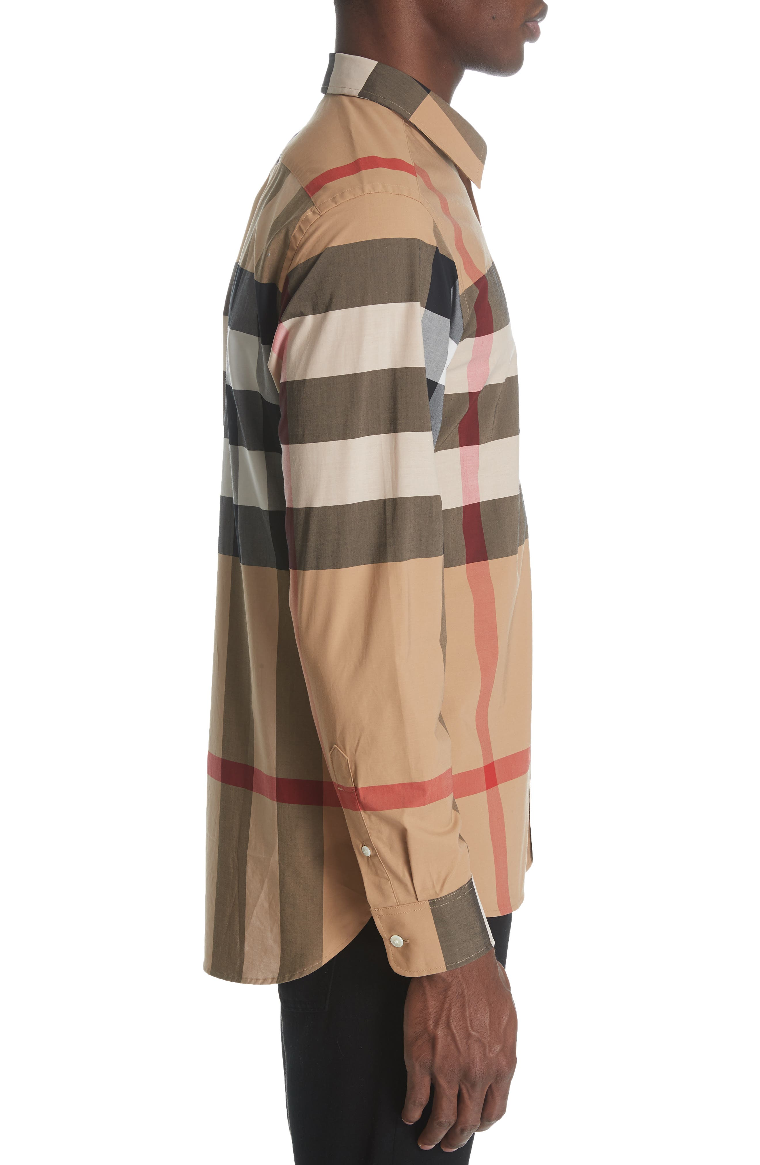 ,                             Windsor Slim Fit Check Sport Shirt,                             Alternate thumbnail 4, color,                             CAMEL