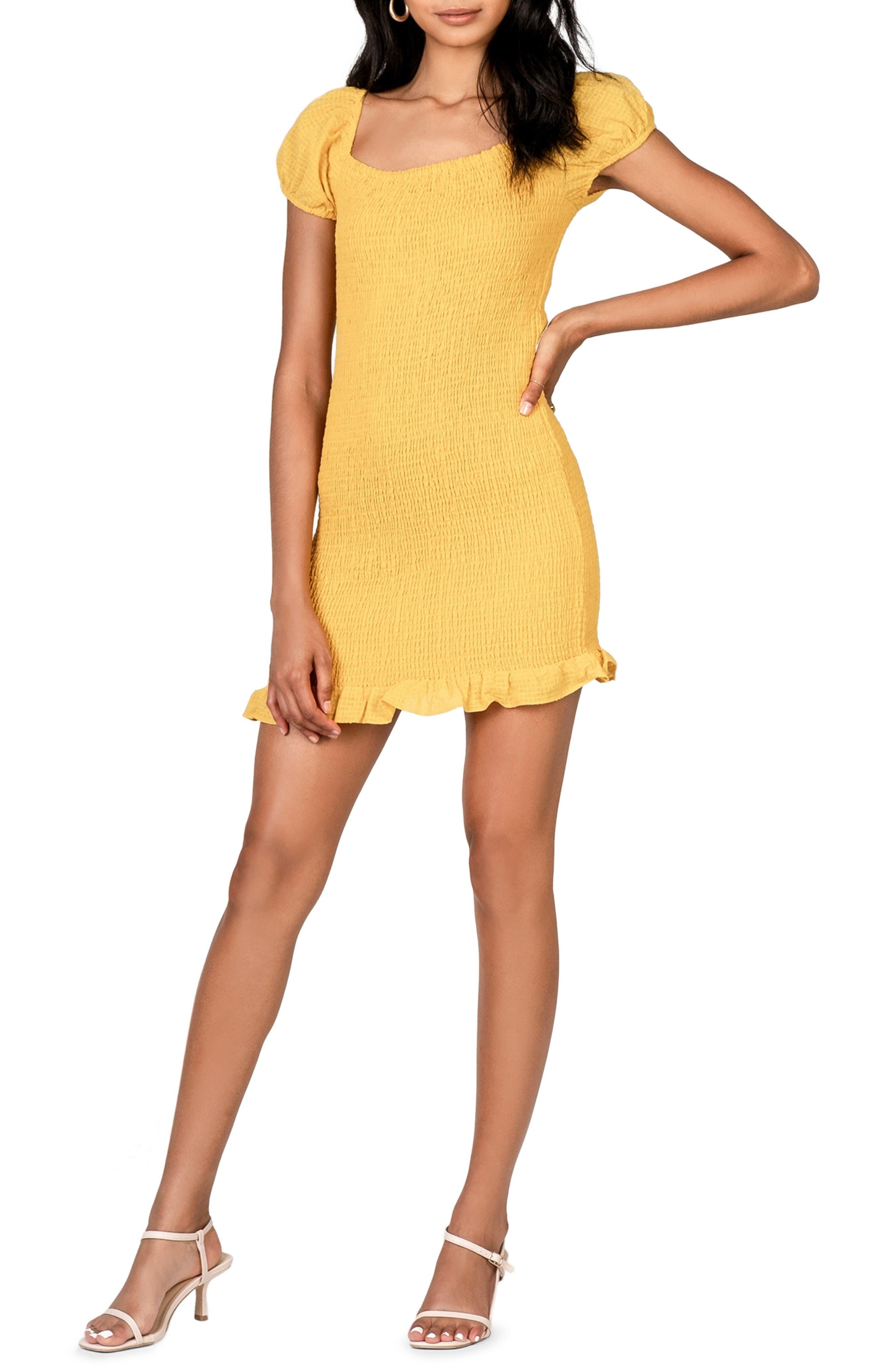 Women's Lost + Wander Daffodil Smocked Ruffle Minidress