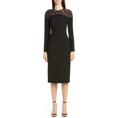 Lela Rose Lace Yoke Long Sleeve Midi Sheath Dress, Black