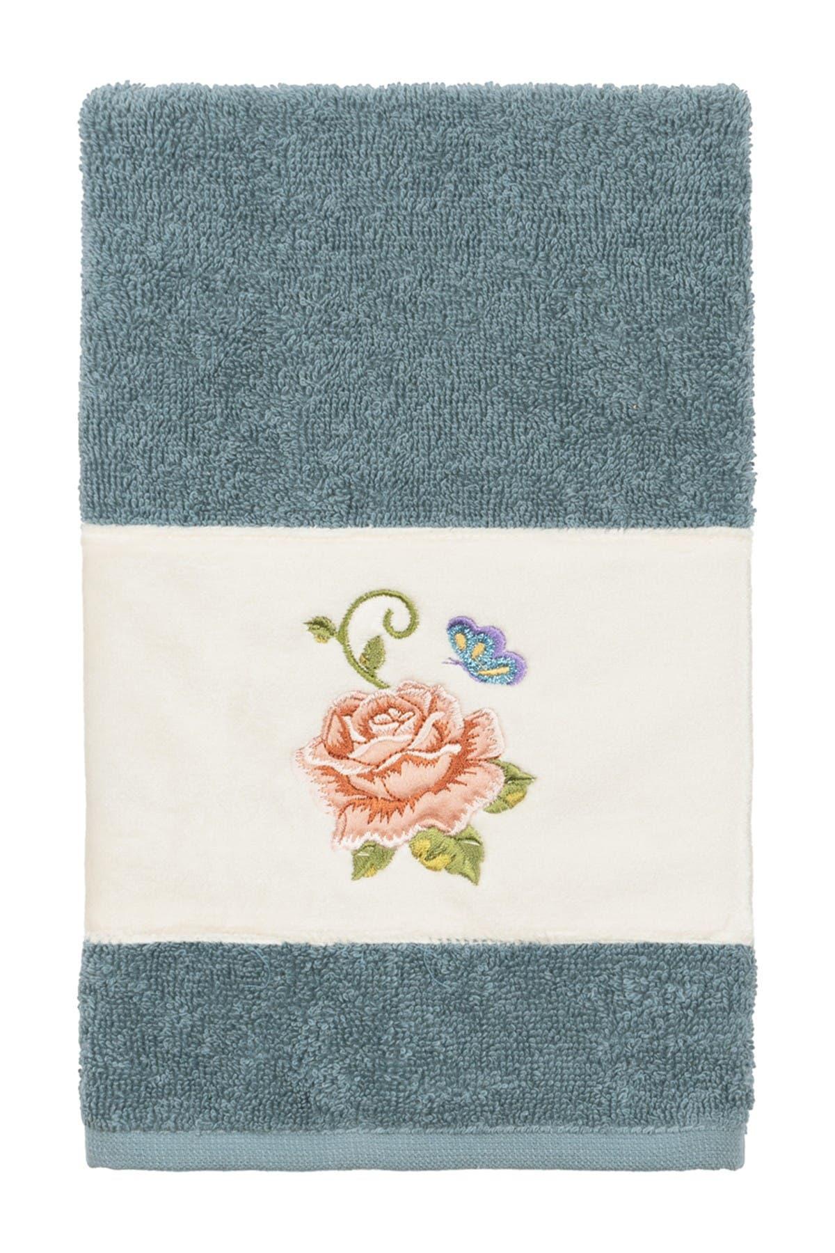 Image of LINUM HOME Teal Rebecca Embellished Hand Towel