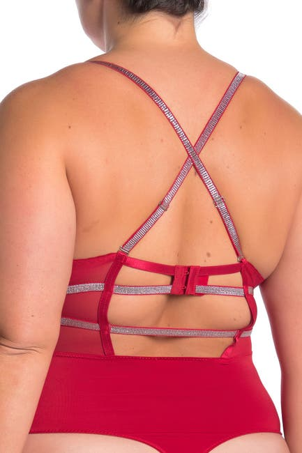 Image of SECRET LACE Lace Front Cutout Thong Bodysuit