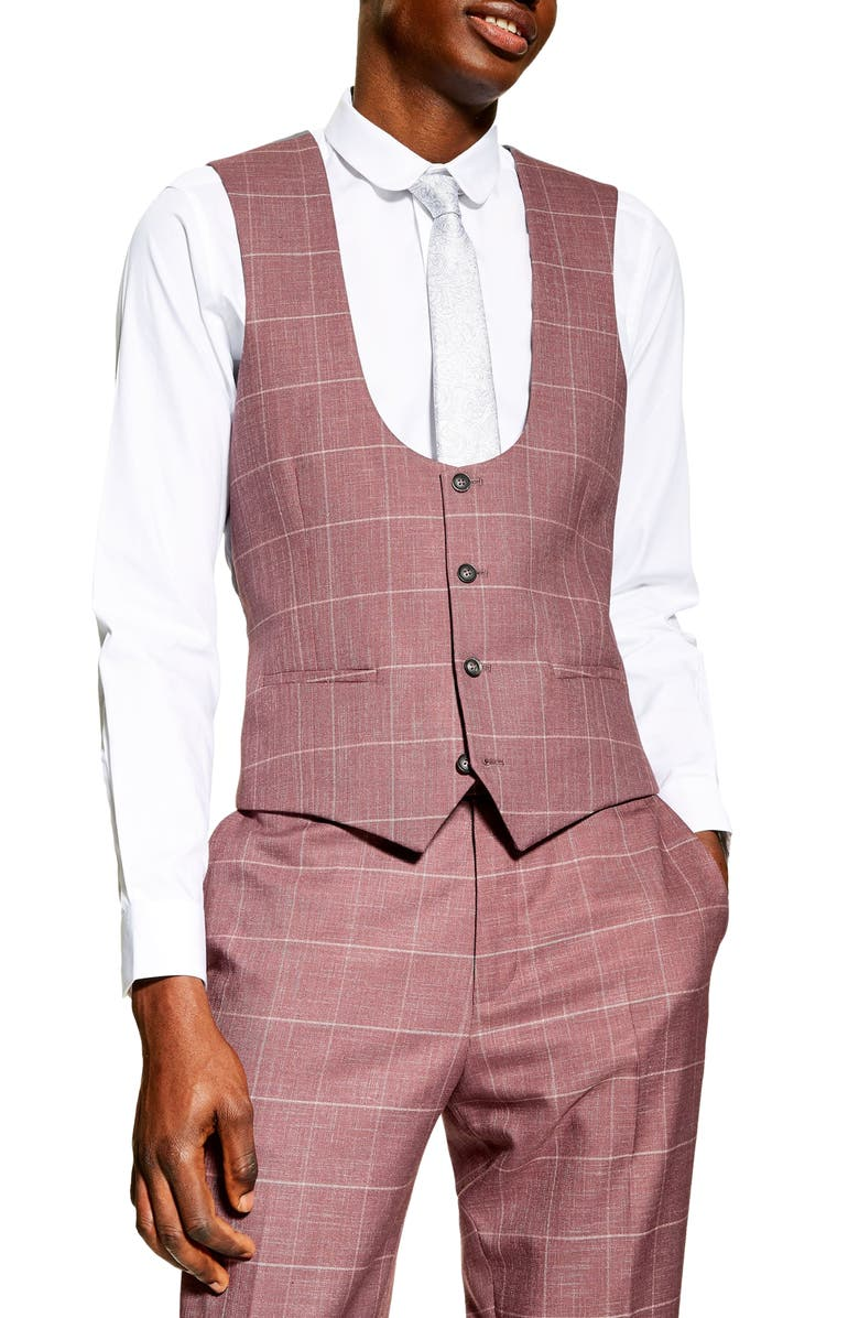 TOPMAN Slim Fit Windowpane Suit Vest, Main, color, 650