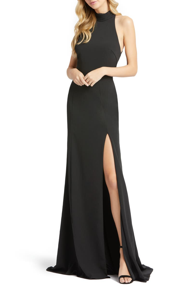 MAC DUGGAL Cutout Back Jersey Gown, Main, color, BLACK