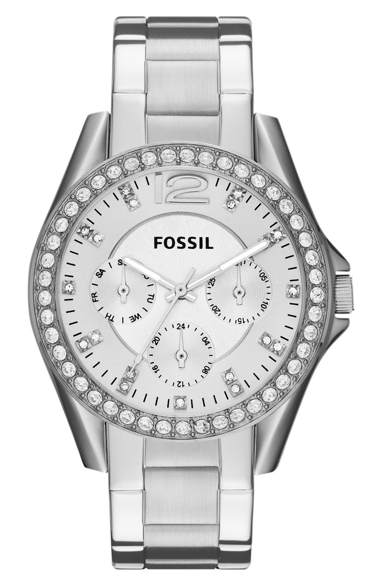FOSSIL 'Riley' Round Crystal Bezel Bracelet Watch, 38mm, Main, color, SILVER
