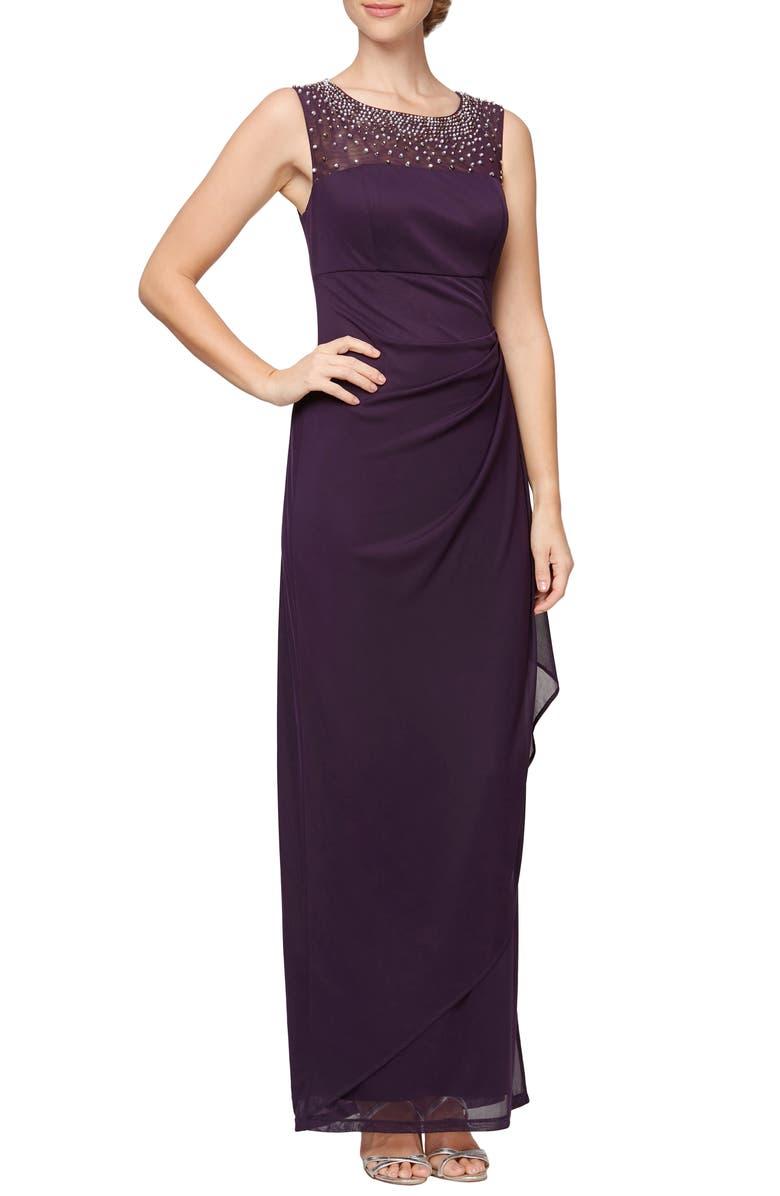 ALEX EVENINGS Beaded Mesh Yoke Chiffon Gown, Main, color, EGGPLANT