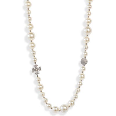 Tory Burch Pave Crystal Charm & Imitation Pearl Choker Necklace