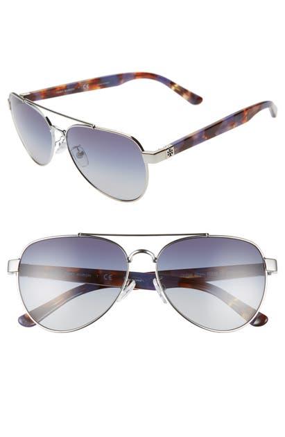 Tory Burch Sunglasses 57MM AVIATOR SUNGLASSES - SILVER/ PURPLE/ BLUE GRADIENT
