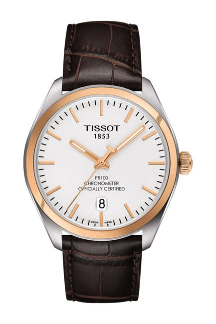 Image of Tissot Men's PR 100 COSC Embossed Leather Strap Watch, 39mm