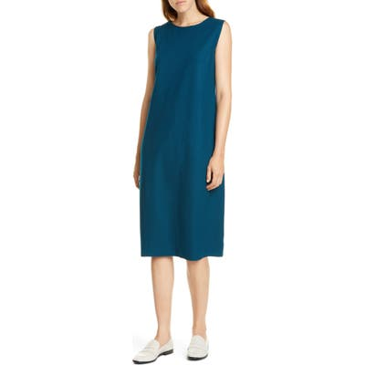 Petite Eileen Fisher Wool Lantern Dress, Blue
