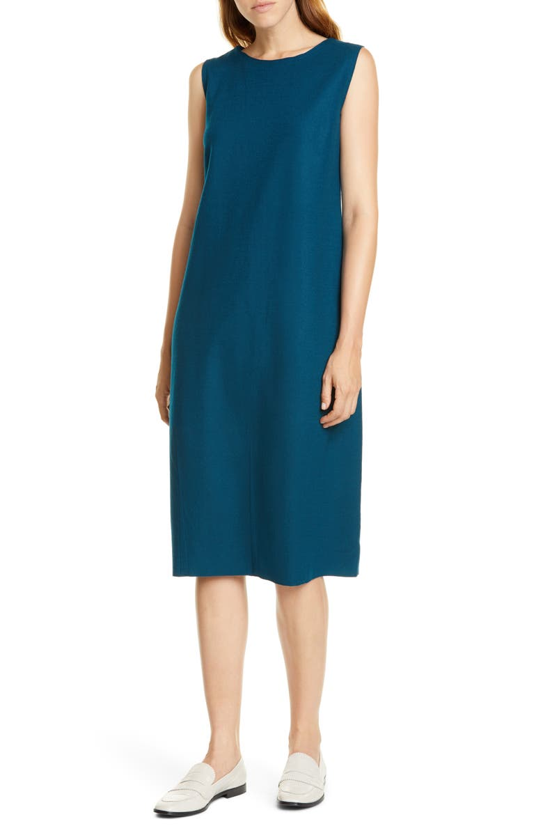 EILEEN FISHER Wool Lantern Dress, Main, color, BLUE SPRUCE