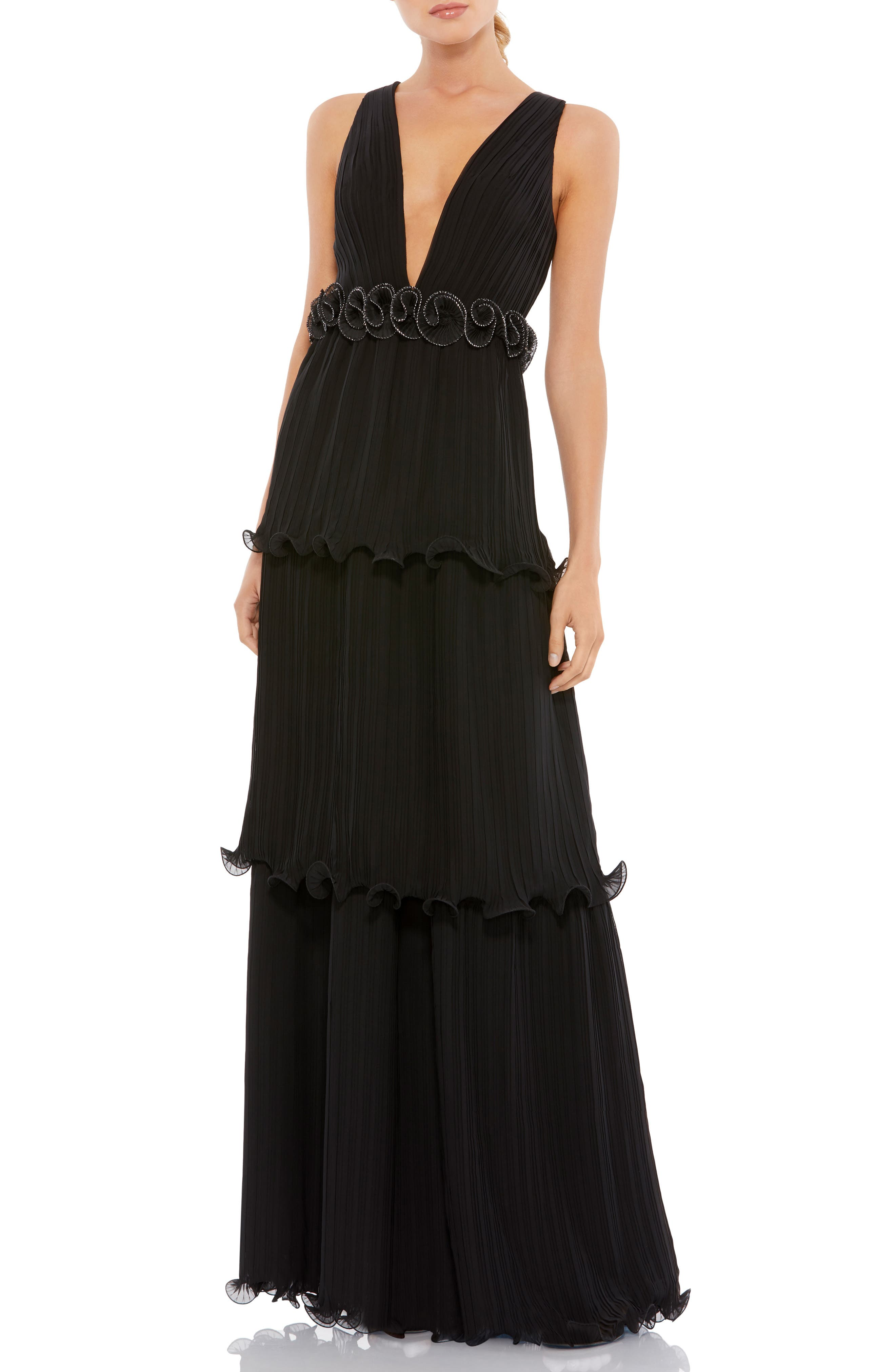 Plunge Neck Rosette Detail Pleated A-Line Gown