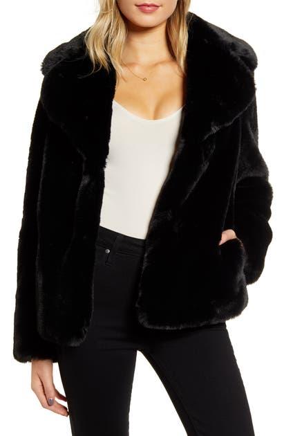 Kendall + Kylie Faux Fur Jacket In Black