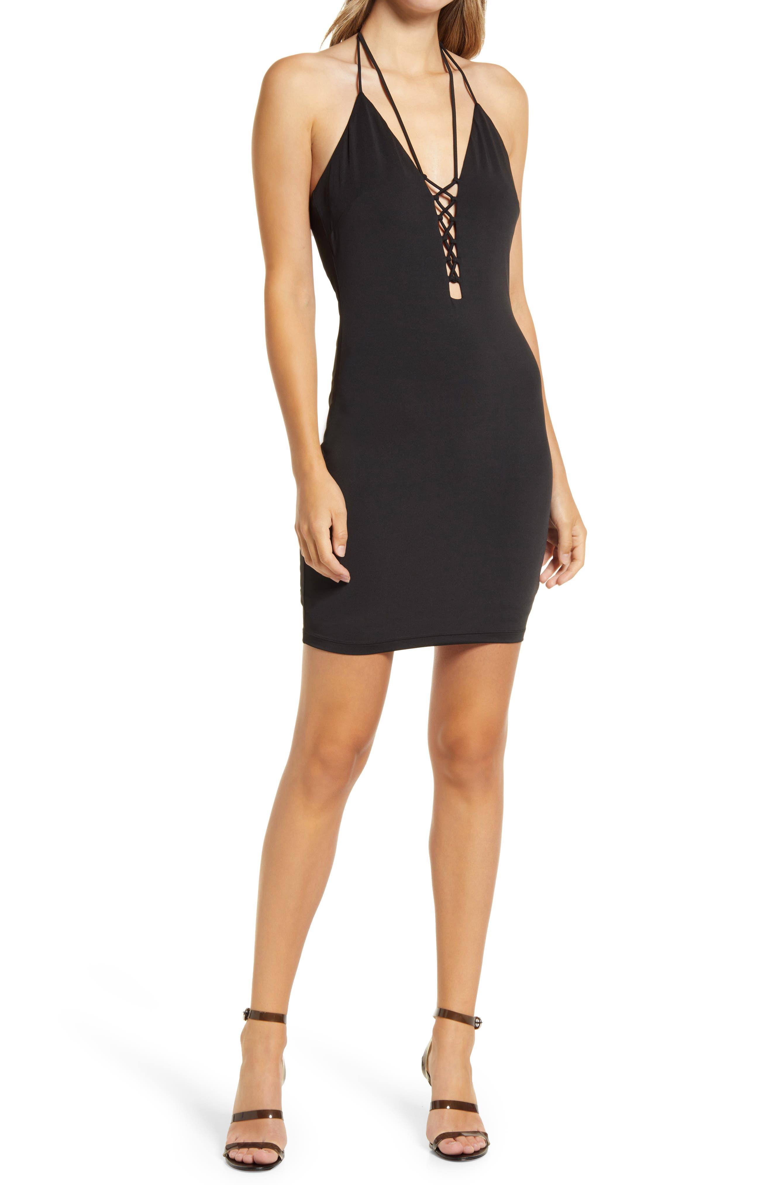 Lace-Up Double Strap Halter Dress