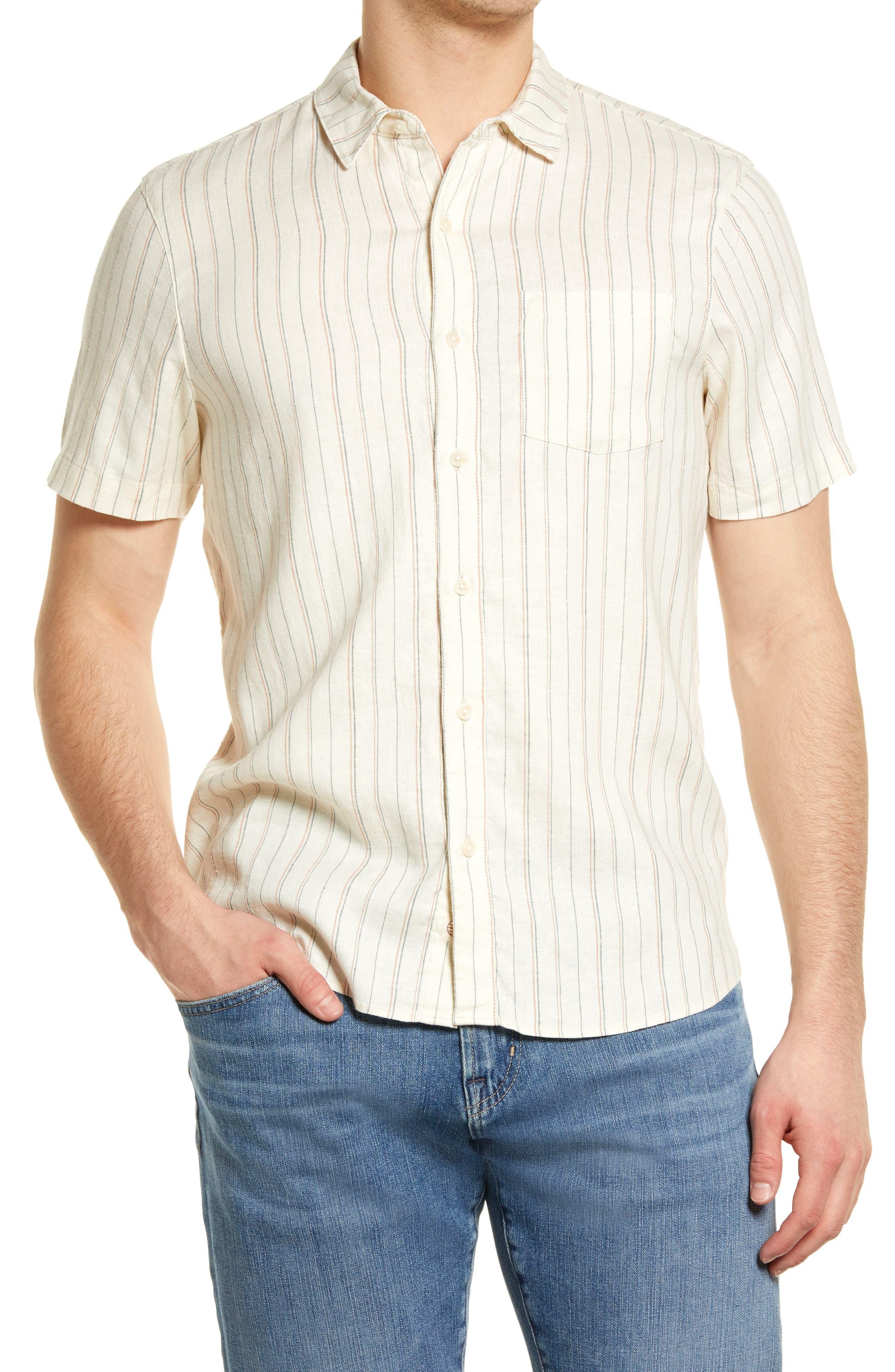 Vertical Stripe Short Sleeve Button-Up Shirt