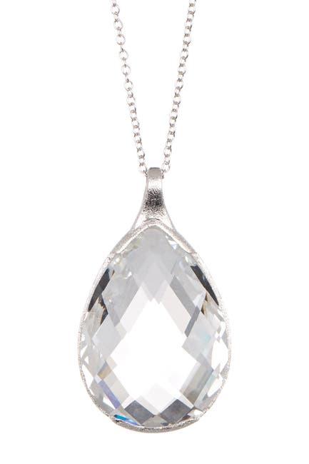 Image of Rivka Friedman White Rhodium Clad Teardrop Crystal Pendant Necklace