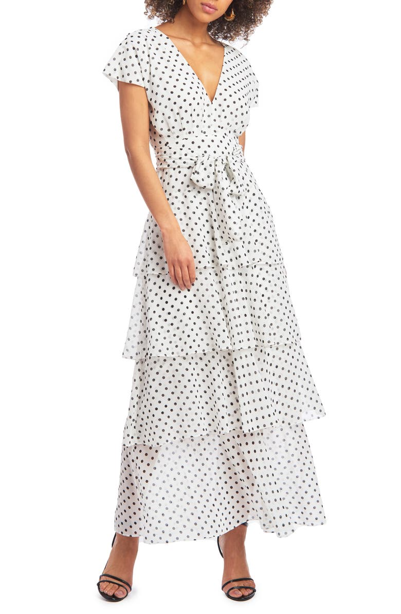 CHRISTIAN SIRIANO Polka Dot Chiffon Maxi Dress, Main, color, 900