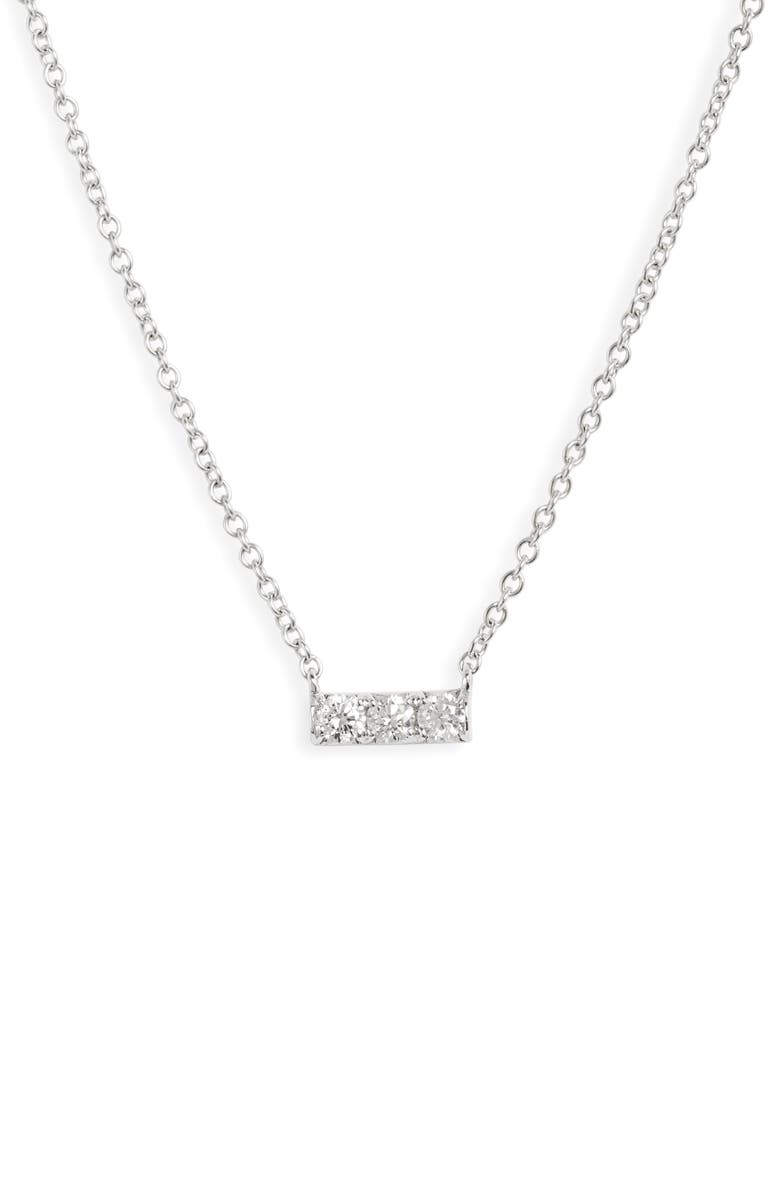 BONY LEVY Audrey Small Diamond Bar Pendant Necklace, Main, color, WHITE GOLD/ DIAMOND
