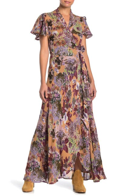 Image of RAGA Dear Dahlia Floral Print Wrap Maxi Dress