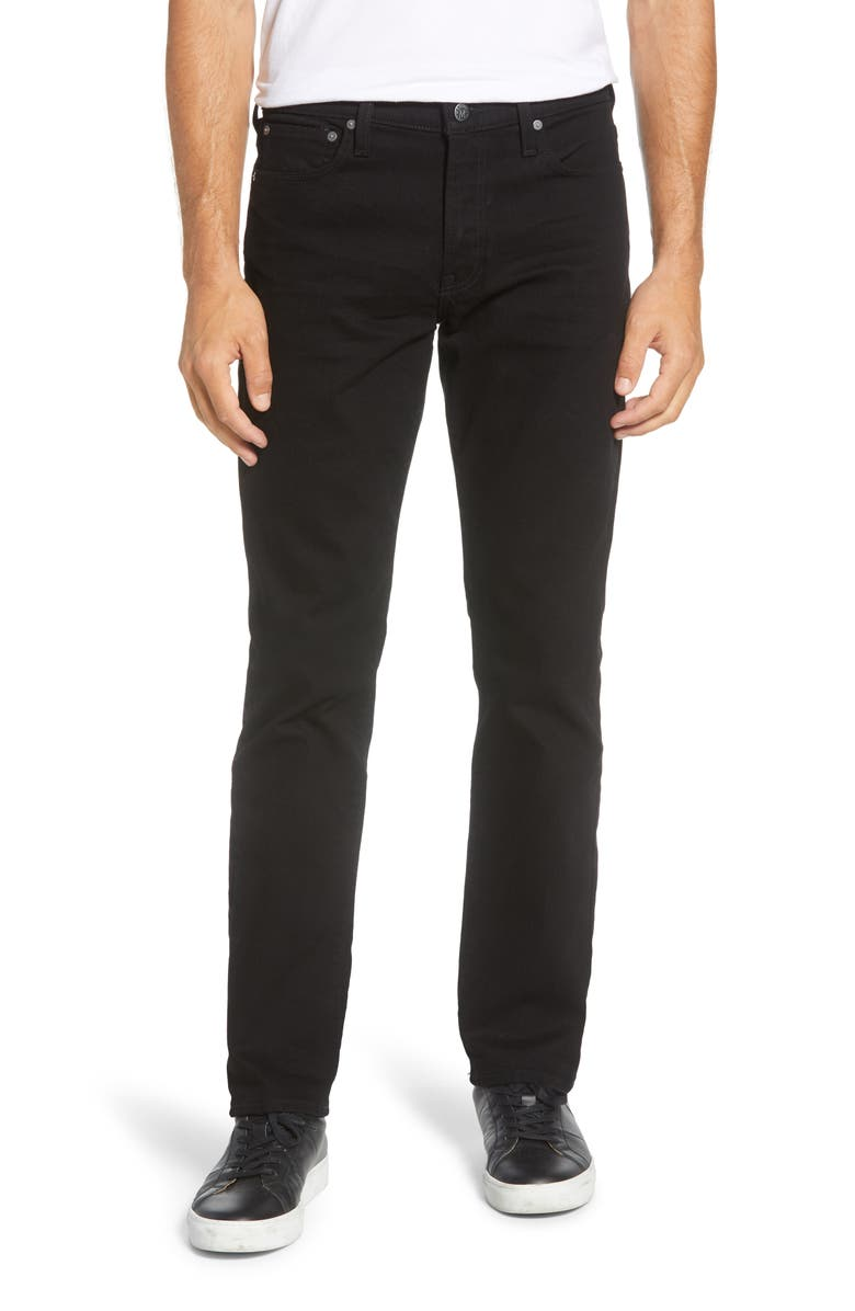 MADEWELL Straight Authentic Flex Jeans, Main, color, BLACK