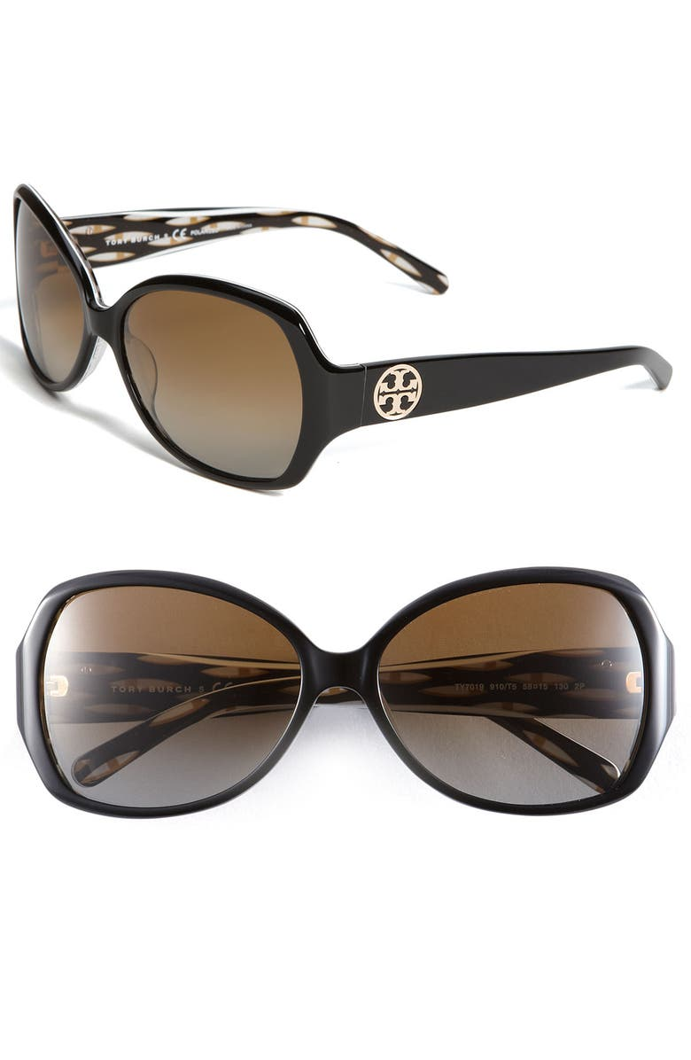 TORY BURCH 'Large' Butterfly 58mm Polarized Sunglasses, Main, color, 200