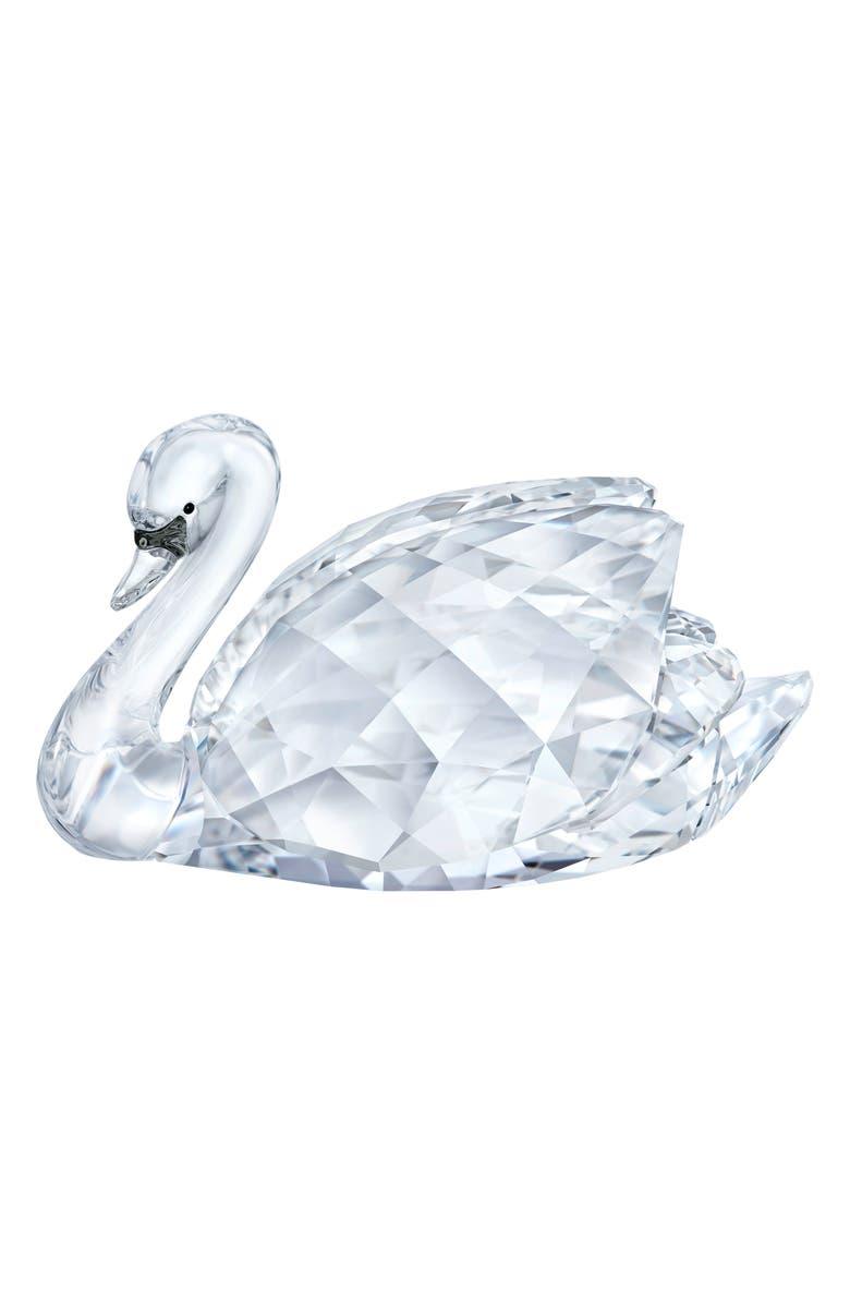 SWAROVSKI Large Crystal Swan Figurine, Main, color, CLEAR