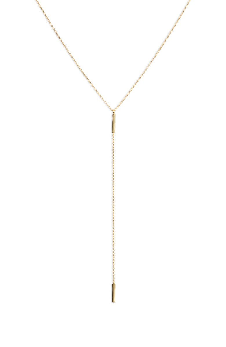 GORJANA Taner Bar Short Y-Necklace, Main, color, GOLD