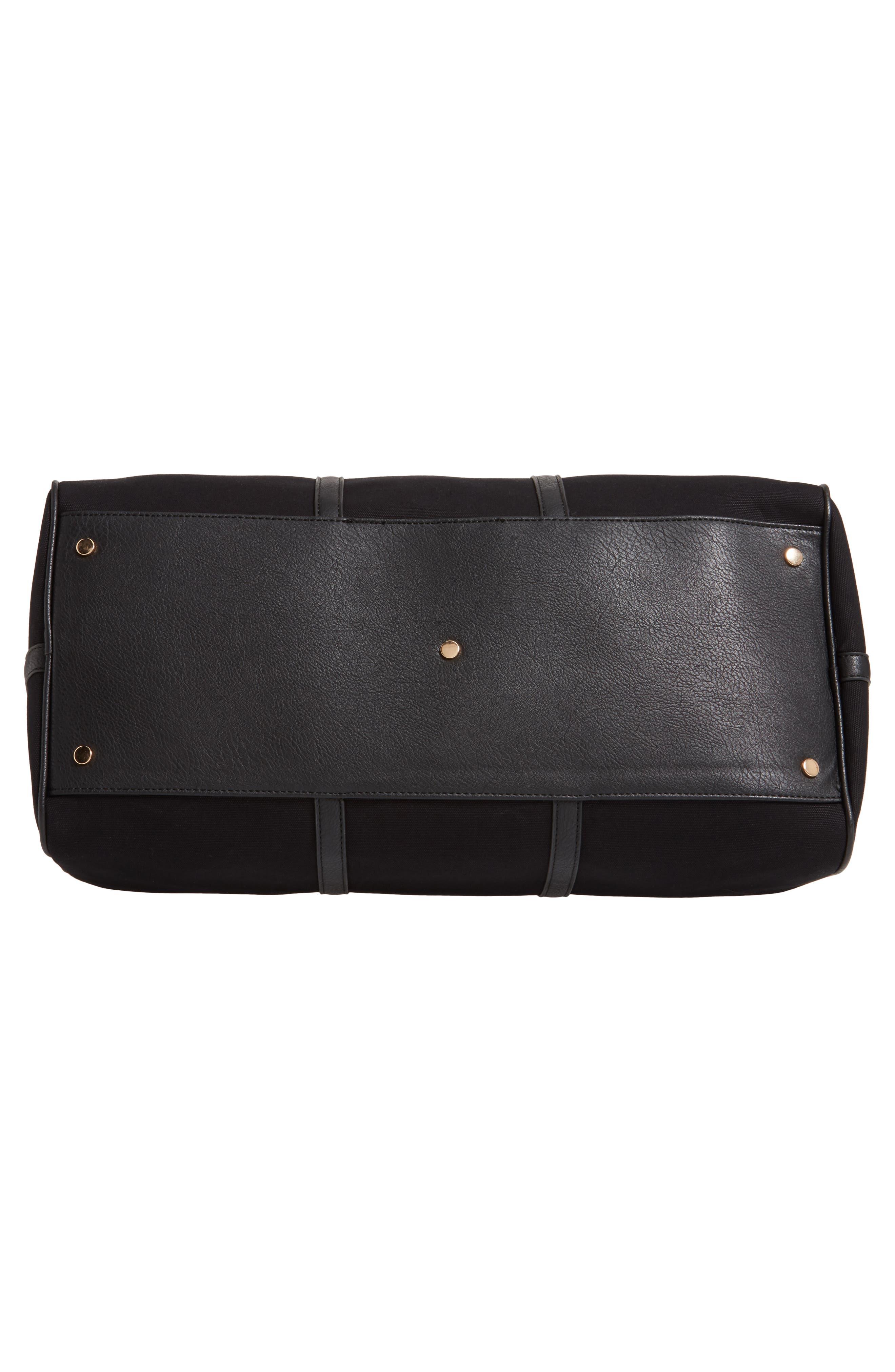 ,                             Lacie Faux Leather Duffle Bag,                             Alternate thumbnail 7, color,                             BLACK CANVAS