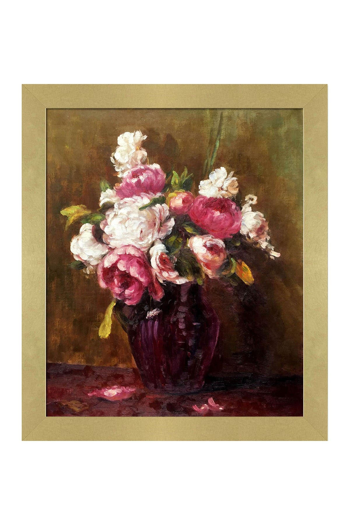 """Image of Overstock Art White Peonies and Roses, Narcissus with Semplice Specchio Frame - 24"""" x 28"""""""