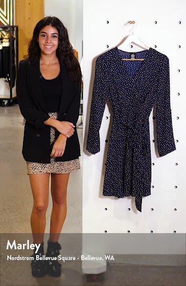 Print Long Sleeve Roll-Tab Faux Wrap Dress, sales video thumbnail