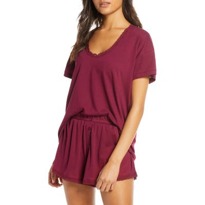 The Great. The Lace Pajama Shorts, Burgundy