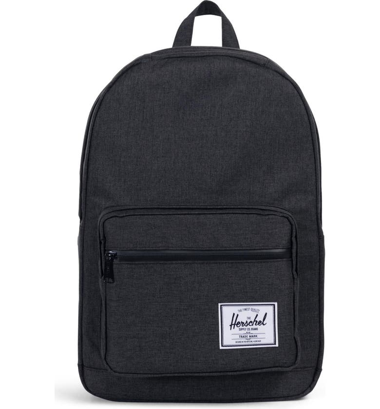 HERSCHEL SUPPLY CO. Pop Quiz Backpack, Main, color, BLACK CROSSHATCH/ BLACK RUBBER