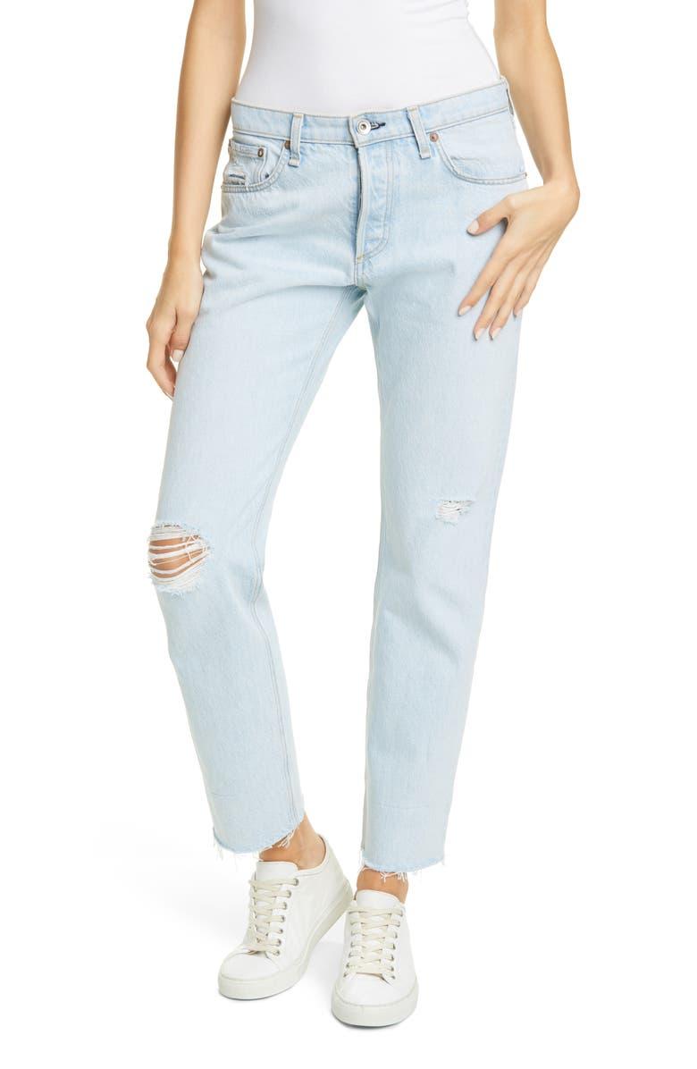 RAG & BONE Rosa Ripped Boyfriend Jeans, Main, color, RAVEN3