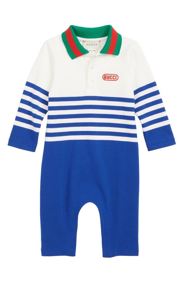 GUCCI Cotton Polo Romper, Main, color, 400