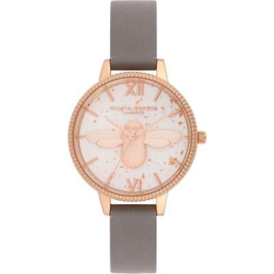 Olivia Burton Celestial Bee Leather Strap Watch,