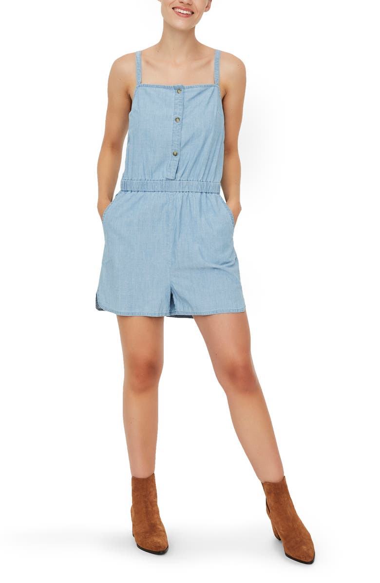 VERO MODA Cary Chambray Organic Cotton Romper, Main, color, LIGHT BLUE DENIM