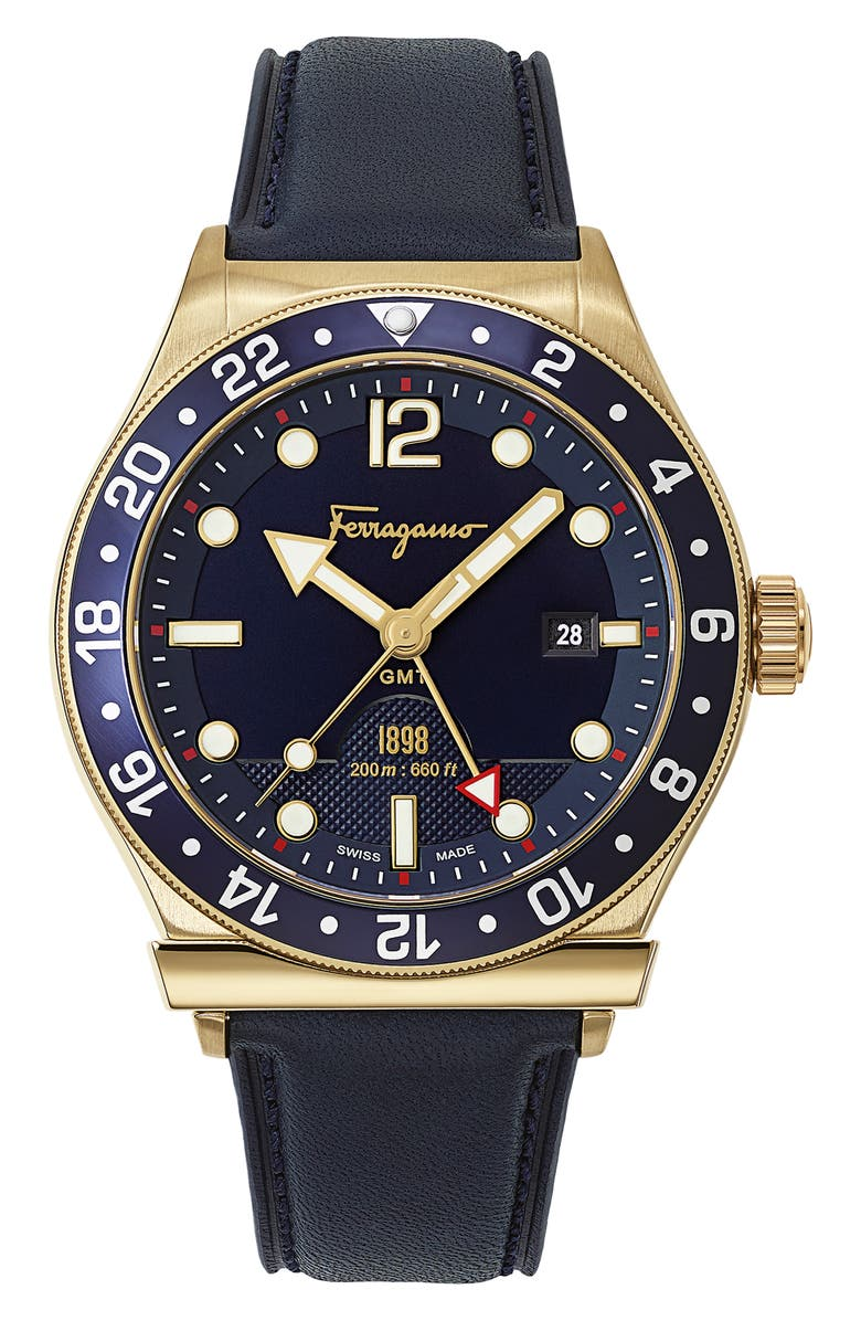 SALVATORE FERRAGAMO Sport Leather Strap Watch, 44mm, Main, color, BLUE/ GOLD